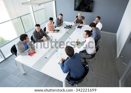 Group of business people having a business meeting in office  - stock photo