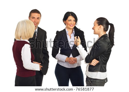 Group of business people having conversations over white background - stock photo