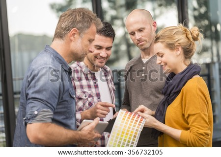 Group of business people having meeting in office of start up - stock photo