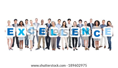 Group Of Business People Holding The Word Excellence - stock photo