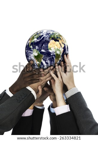 Group of business people holding the world isolated on white Altered Composite image Original Earth provided by www.nasa.gov - stock photo