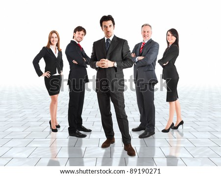 Group of business people in a bright room