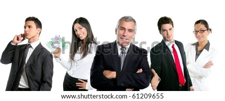 Group of business people in a line row isolated on white background [Photo Illustration]