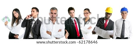 Group of business people in a line row isolated on white background [Photo Illustration] - stock photo