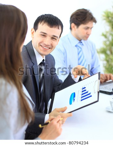 Group of business people in a meeting at office - Staff meeting - stock photo