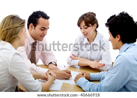 Group of business people in a meeting - isolated over a white background