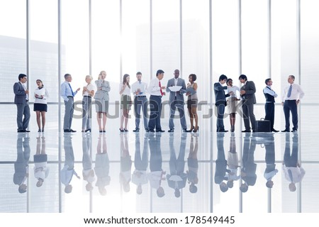 Group of Business People in City Office - stock photo