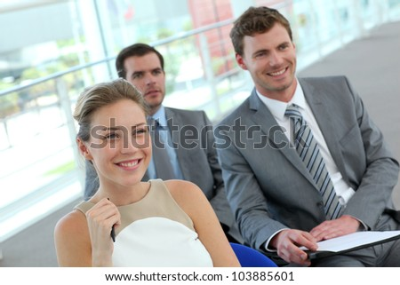 Group of business people in conference room - stock photo
