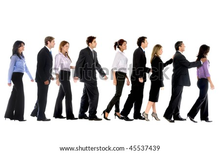 Group of business people in line isolated over a white background - stock photo