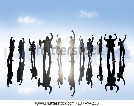Group of Business People in Town - stock photo
