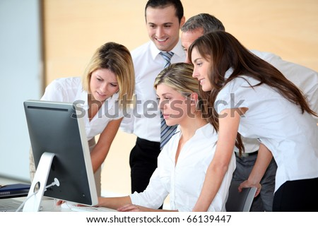 Group of business people in work meeting