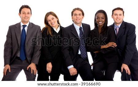 Group of business people isolated over white
