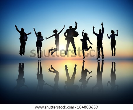 Group of Business People Jumping and Celebrating - stock photo