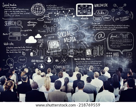Group of Business People Learning About Social Media - stock photo