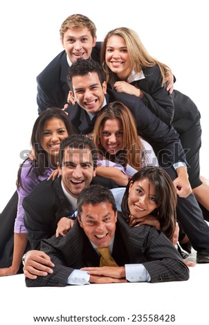 Group of business people on the floor isolated over a white background