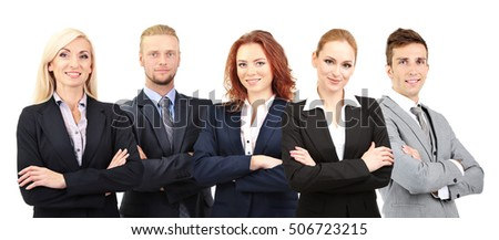 Group of business people on white background. Business training and strategy concept.