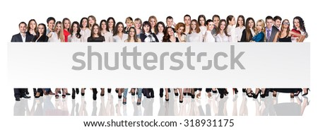 Group of business people presenting empty banner over white backgrounds - stock photo