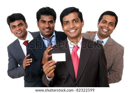 Group of Business people showing blank business card Isolated on white. - stock photo