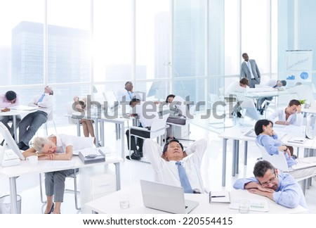 Group of Business People Sleeping in the Office - stock photo