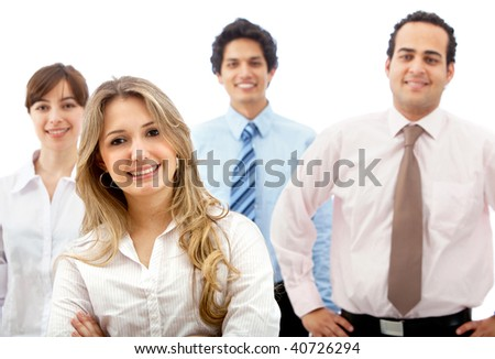 Group of business people smiling isolated on white