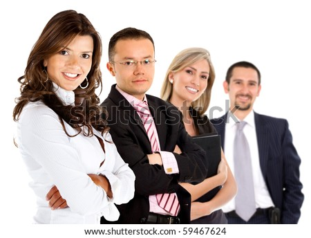 Group of business people smiling - isolated over a white background