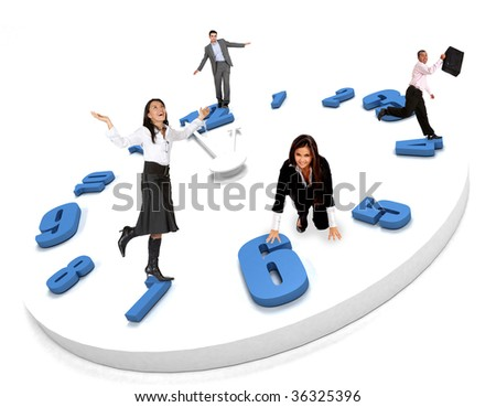 Group of business people standing on  a clock