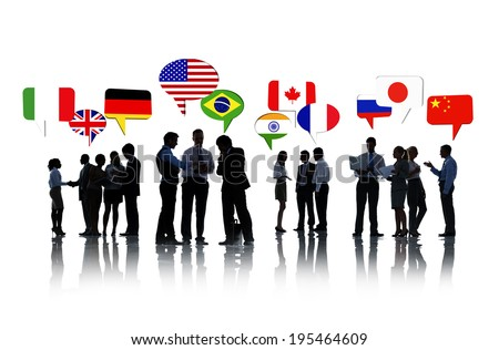Group Of Business People Talking And Discussing International Relations - stock photo