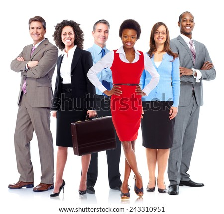 Group of business people team. Isolated over white background. - stock photo