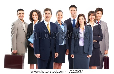 Group of business people team. Isolated over white background - stock photo