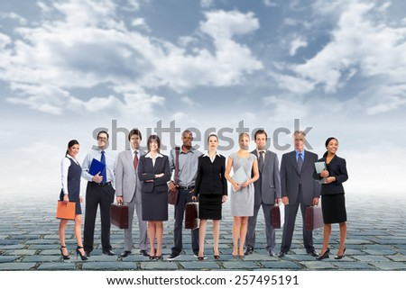 Group of business people team over urban background - stock photo