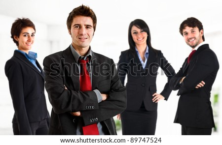Group of business people. The leader is in the front - stock photo