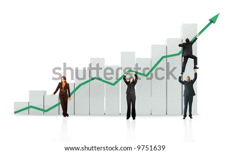 group of business people with a chart representing growth and success - isolated over a white background - stock photo