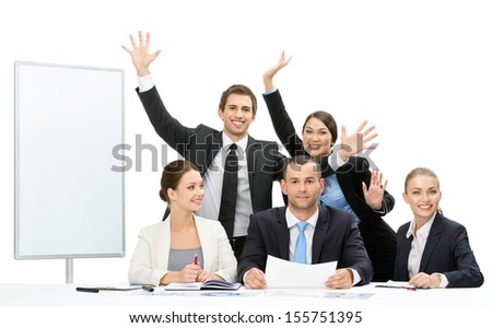 Group of business people with hands up near the copyspace work, isolated on white. Concept of teamwork and cooperation - stock photo