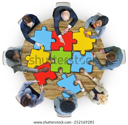 Group of Business People with Jigsaw Puzzle in Photo and Illustration - stock photo