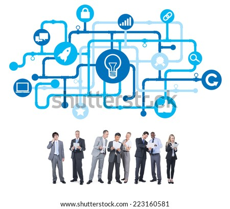 Group of Business People with Light Bulb - stock photo
