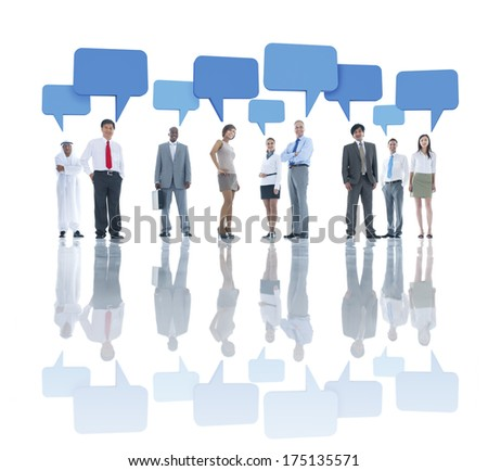 Group of Business People with Speech Bubbles - stock photo