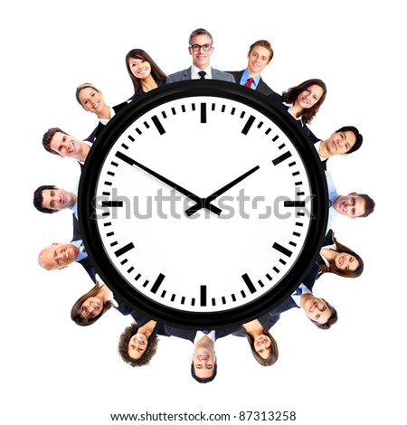 Group of business people with watches. Isolated over white background.