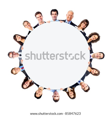 Group of business people with white circle. Isolated over white background.