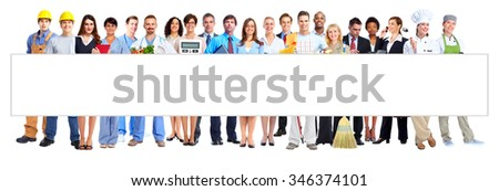 Group of business people workers isolated over white background background. - stock photo