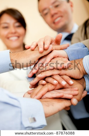 Group of business people working as a team - stock photo