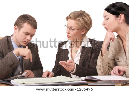 Group of business people working at the desk in the office  2 - isolated - stock photo