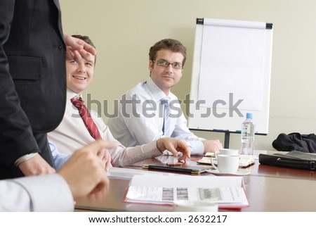 Group of business people working together at the meeting - stock photo