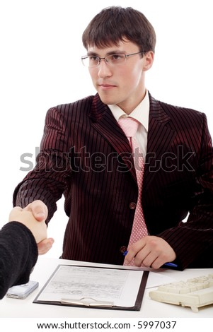 Group of business people working together. Shot in studio. - stock photo