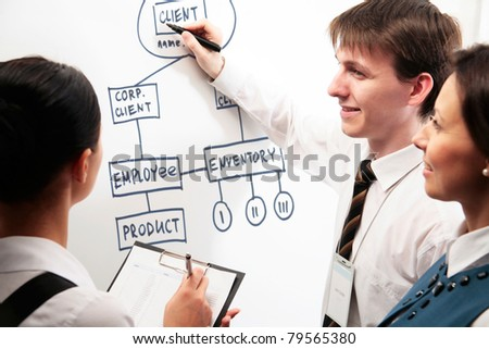 Group of business people working with a graphics on the white board - stock photo
