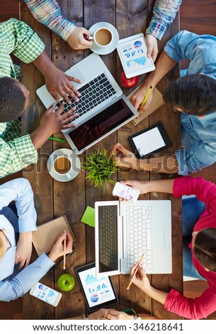 Group of business people working with computers - stock photo