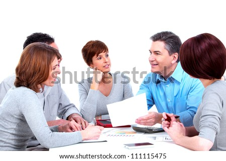 Group of business people. Working with documents. Isolated on white background. - stock photo