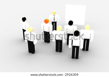group of business persons meeting in front of a whiteboard - stock photo