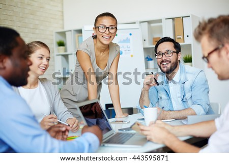 Group of business team having a meeting at office