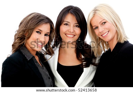 Group of business women smiling isolated over a white background - stock photo