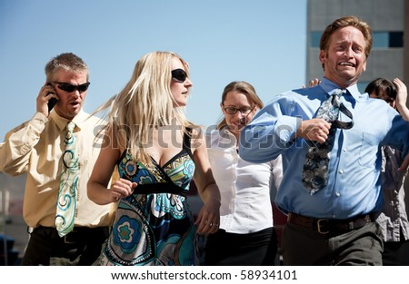 Group of business workers run to new horizon - stock photo